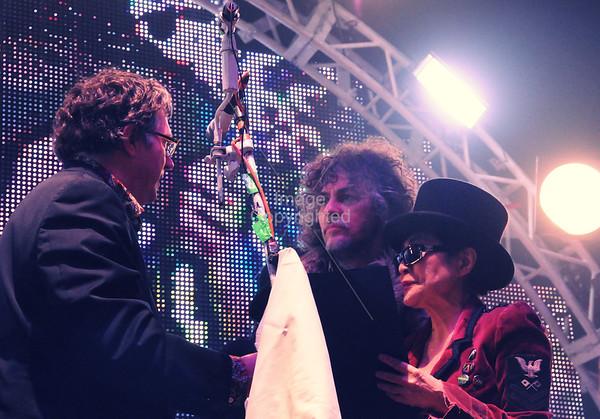 Yoko Ono, Wayne Coyne, Scott Booker, New Years Eve Freakout 5, Dec. 31,2011. Oklahoma City, Oklahoma.