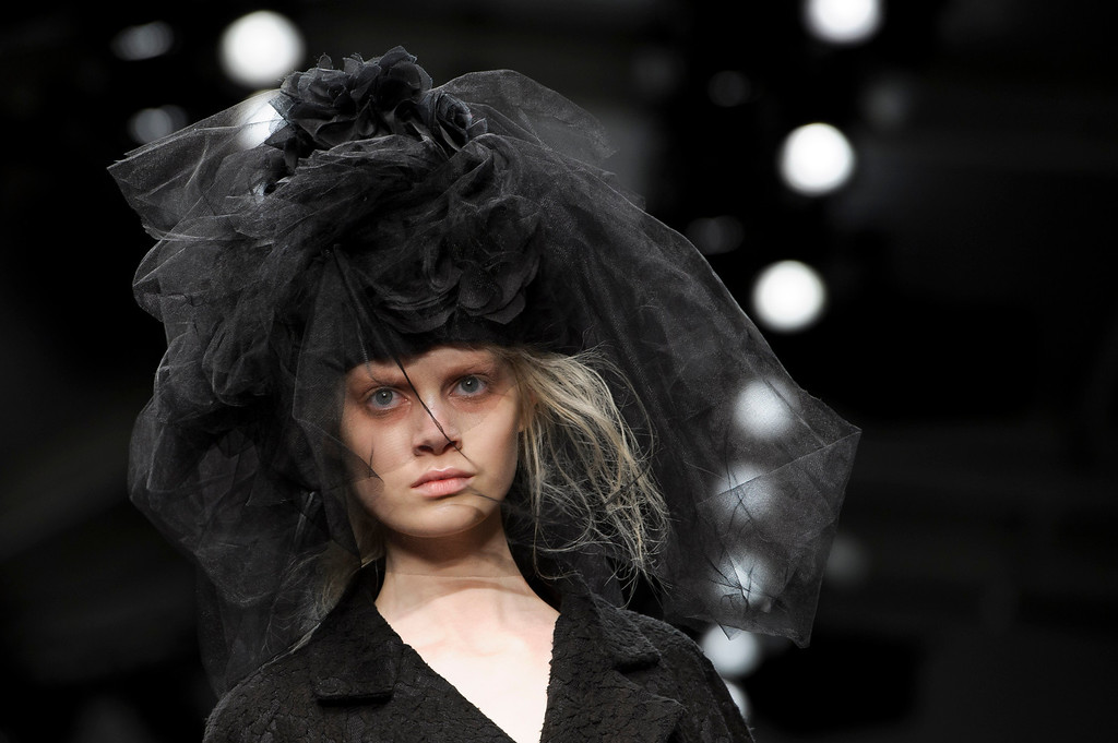 . A model wears a design from the John Rocha collection during London Fashion Week, Saturday, Feb. 16, 2013. (Photo by Jonathan Short/Invision/AP)