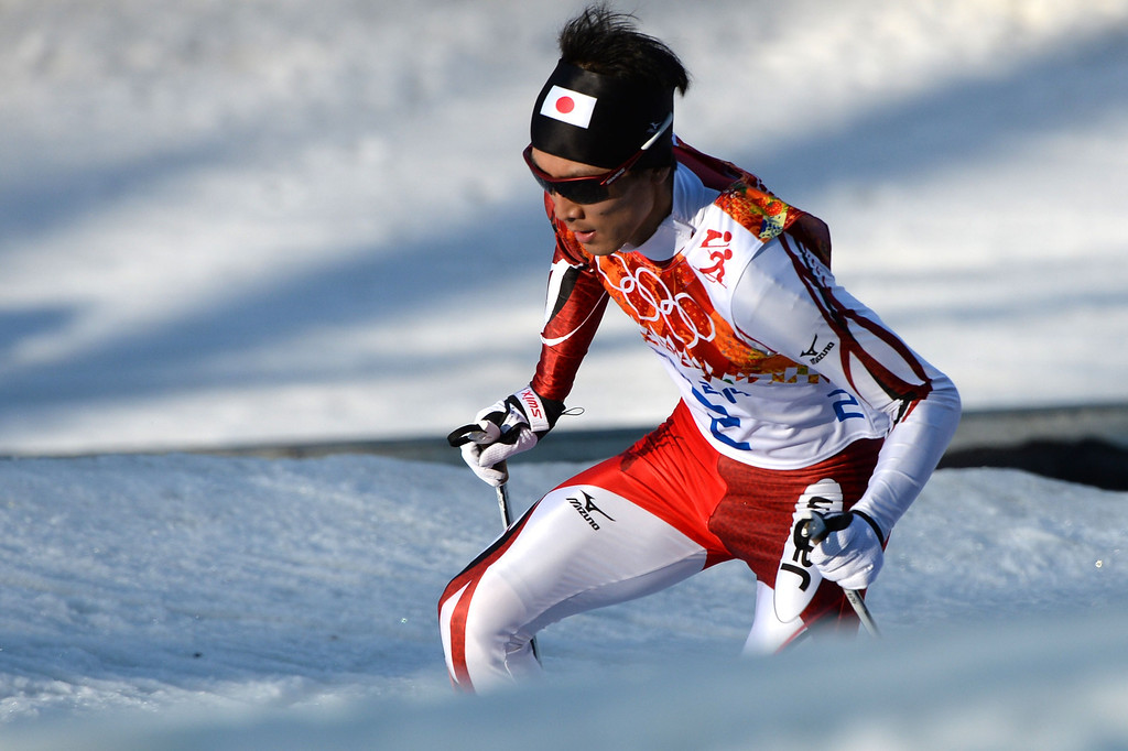 . Silver medalist Japan\'s Akito Watabe competes in the Nordic Combined Individual NH / 10 km Cross-Country at the RusSki Gorki Jumping Center during the Sochi Winter Olympics on February 12, 2014, in Rosa Khutor near Sochi.  AFP PHOTO / PETER PARKS/AFP/Getty Images