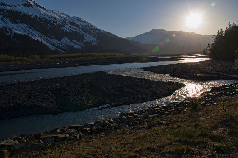 The walk back from Exit Glacier, just before the sun set over the mountains.