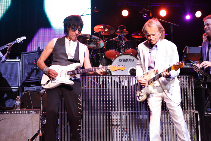 Description of . Jeff Beck and Al Jardine perform together at the Fox Theatre in Detroit on Friday, Oct. 25, 2013. Photo by Ken Settle