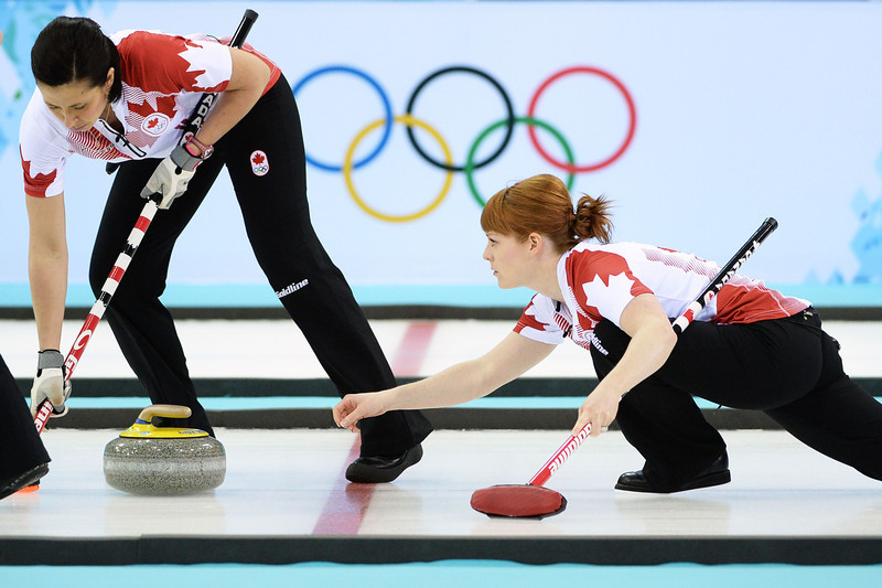 . Canada\'s Dawn McEwen (C) throws the stone during the Women\'s Curling Gold Medal Game Canada vs Sweden at the Ice Cube Curling Center during the Sochi Winter Olympics on February 20, 2014.  JUNG YEON-JE/AFP/Getty Images