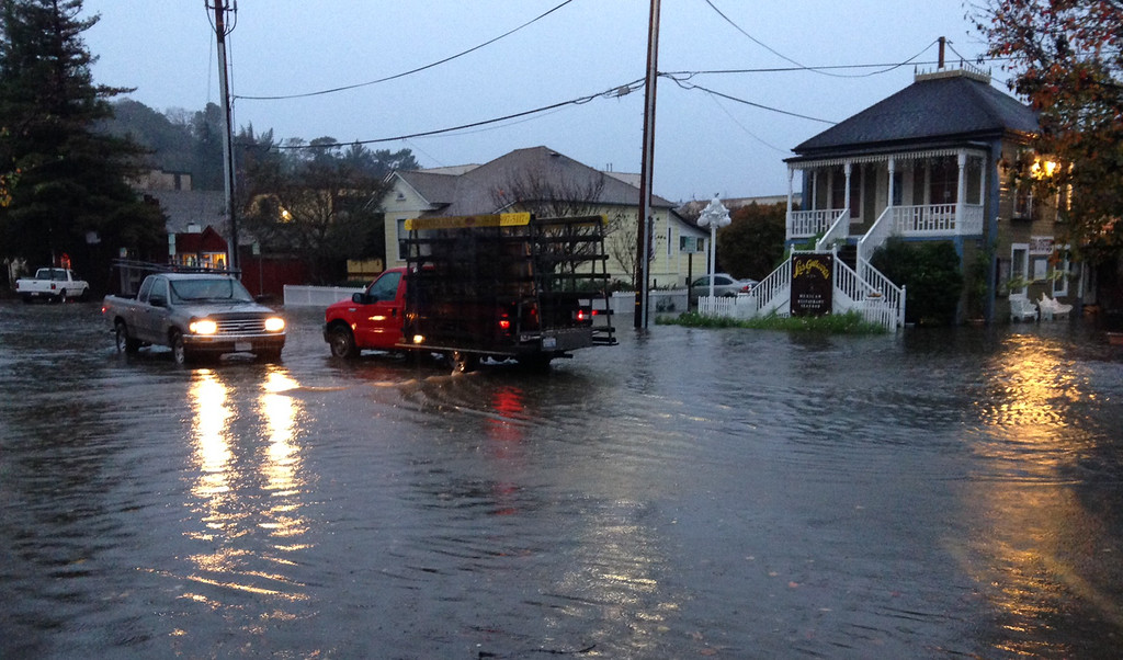 . Reichert Avenue in Novato is covered by 6-8 inches of water on Thursday, Dec. 11, 2014. (Alan Dep/Marin Independent Journal)