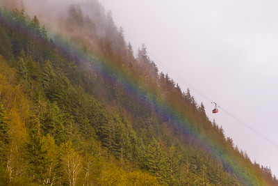 Tram with Rainbow May 2013, Cynthia Meyer, Juneau, Alaska