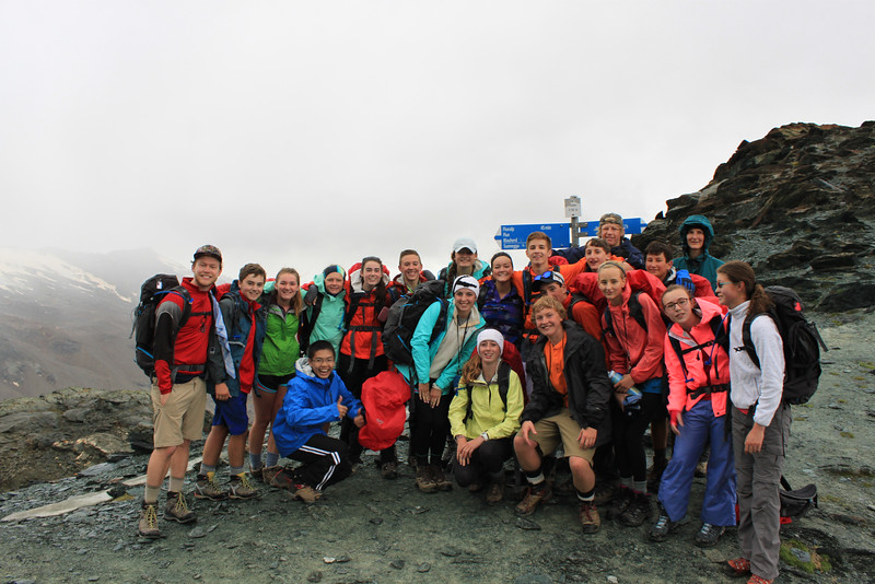 The Tâsch Hut group having reached the summit of the pass on the second day.