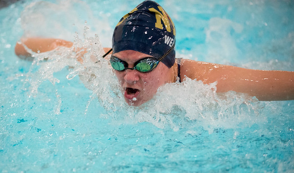 10/02/19 Wesley Bunnell | StaffrrBulkeley/HMTCA girls swimming at Newington on Wednesday afternoon. Lindsay Weaver competes in the 100 yard butterfly.