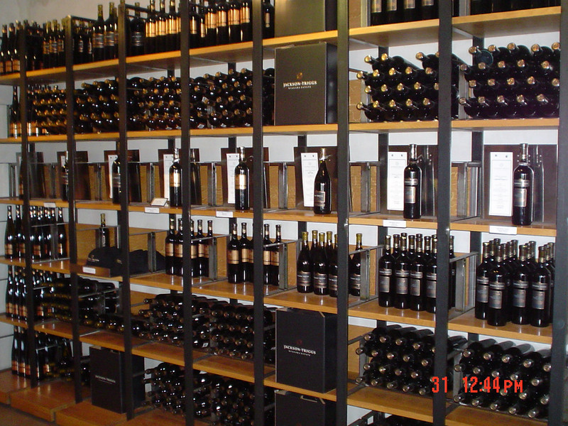 Bottles of wine in store