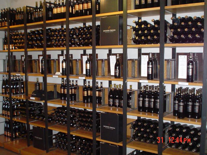 Bottles of wine in store