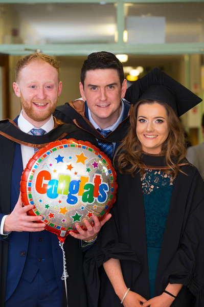 03/11/2017. Waterford Institute of Technology Conferring are Shane Burns Galway, Kieran Cagney Aherlow and Hannah Curley Tullamore . Picture: Patrick Browne.