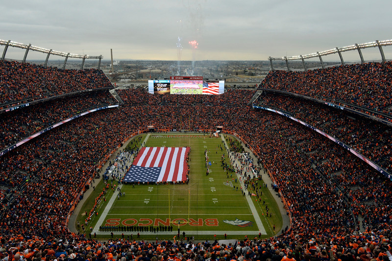 . Fireworks shoot into the sky prior to the start of the game.  The Denver Broncos played the Indianapolis Colts in an AFC divisional playoff game at Sports Authority Field at Mile High in Denver on January 11, 2015. (Photo by Craig F. Walker/The Denver Post)