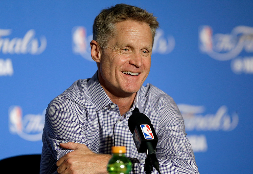 . Golden State Warriors head coach Steve Kerr speaks at a news conference after Game 2 of basketball\'s NBA Finals against the Cleveland Cavaliers in Oakland, Calif., Sunday, June 4, 2017. (AP Photo/Ben Margot)