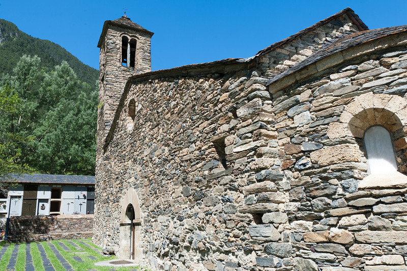 Close-up shot of the stone details on the wall of an old church - Andorra
