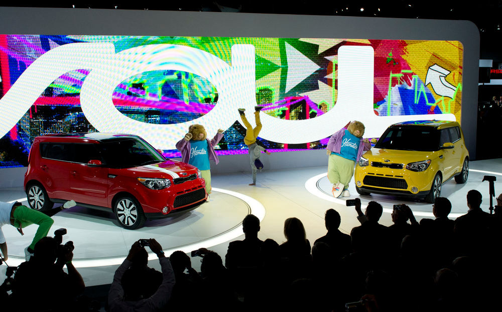 . Dancers are on hand to introduce the Kia Soul during a media conference at the New York International Auto show March 27, 2013 in New york. AFP PHOTO/Don EmmertDON EMMERT/AFP/Getty Images
