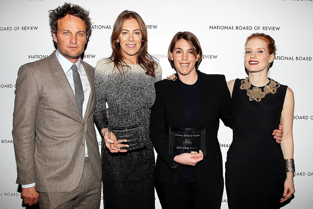 Description of . This Jan. 8, 2013 photo released by Starpix shows, from left, actor Jason Clarke, director Kathryn Bigelow, producer Megan Ellison, and actress Jessica Chastain from