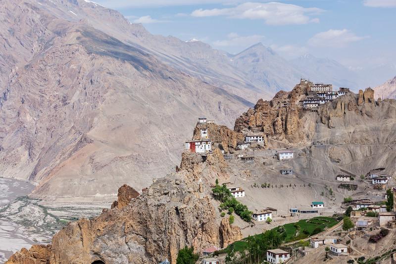 Dhankar gompa (monastery) on cliff and Dhankar village, Dhankar, Spiti valley, Himachal Pradesh, India