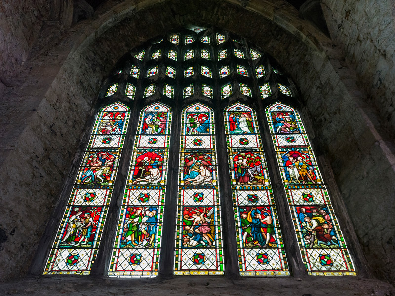 Stained glass window of a cathedral, St. Mary's Cathedral, Kings Island, Limerick, County Limerick, Ireland