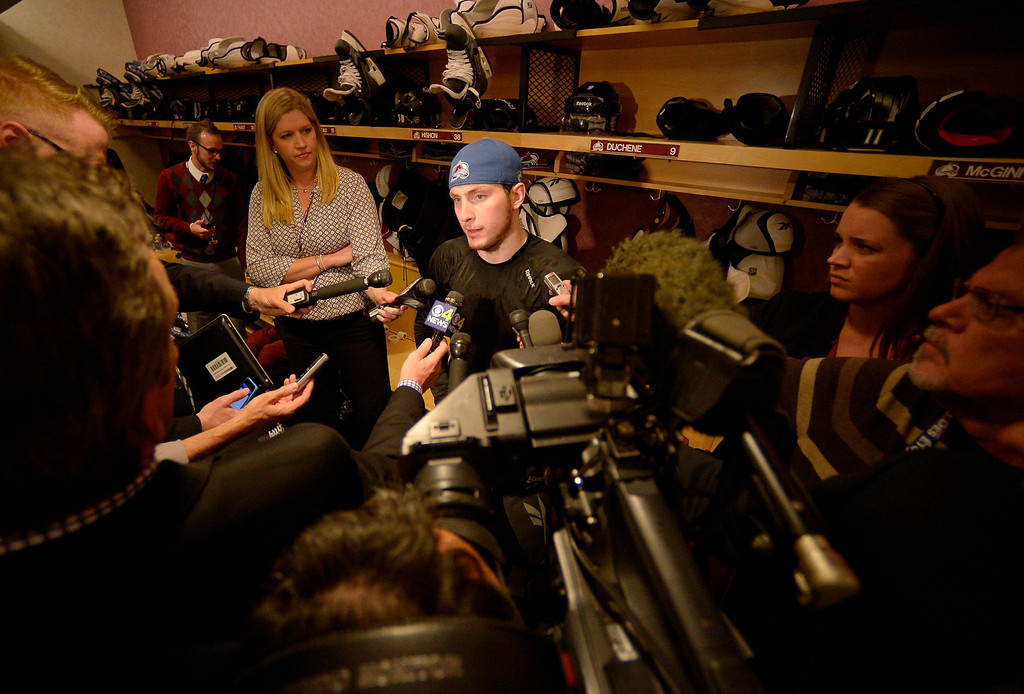 . Colorado Avalanche center Matt Duchene (9) talks with the media after being defeated by the Minnesota Wild 5 to 4 in overtime.   (Photo by John Leyba/The Denver Post)