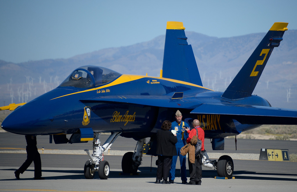 . March 19,2014. Lancaster CA. US Navy Blue Angels arrive at Fox field Wednesday morning. The Los Angels County air show with the Blue Angels will happen this Friday and Saturday at Fox Field.  Photo   by Gene Blevins/LA DailyNews