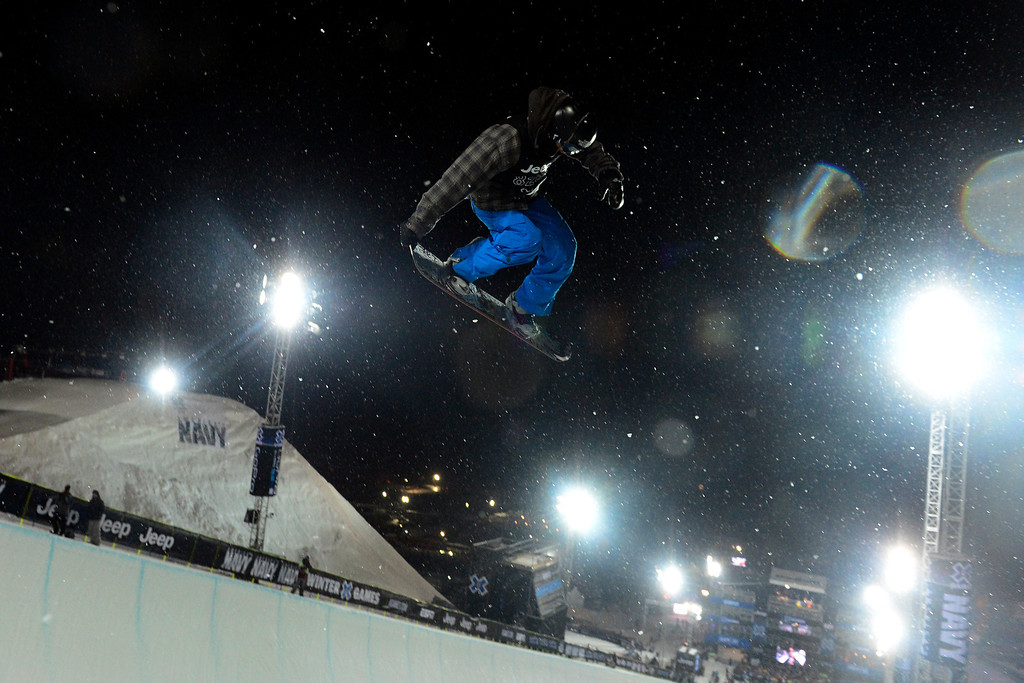 . ASPEN, CO. - JANUARY 24:  Benji Farrow gets some air during the Men\'s SuperPipe practice at the 2013 Aspen X Games on Buttermilk Mountain on January 24, 2013. (Photo By Mahala Gaylord / The Denver Post)