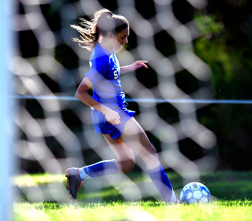 9/17/2019 Mike Orazzi | StaffrSt. Paul's Danielle Regan (12) during girls soccer with Woodland in Bristol Tuesday afternoon.