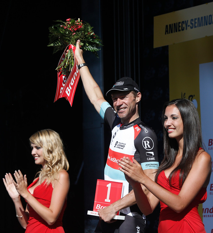 . Forty-two-year-old and father of six children, Jens Voigt of Germany celebrates being awarded most combative rider of the 20th stage of the Tour de France cycling race over 125 kilometers (78.1 miles) with start in in Annecy and finish in Annecy-Semnoz, France, Saturday July 20 2013. (AP Photo/Laurent Cipriani)