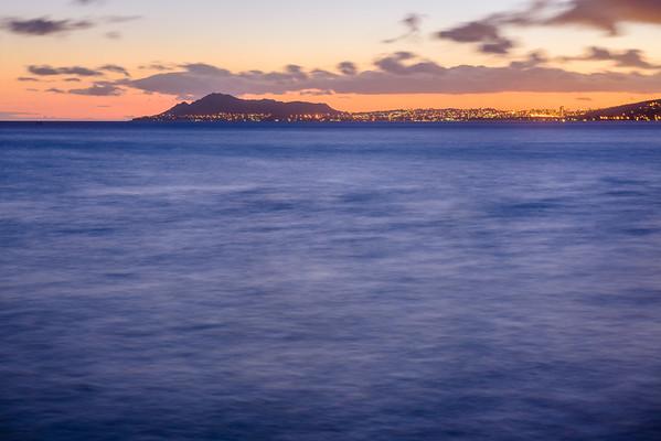 002 14-0817b Sunset over Honolulu