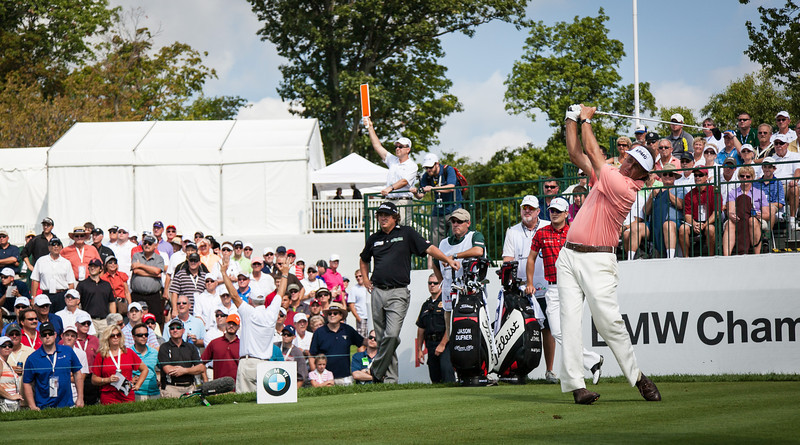 Phil Mickelson hits his first shot of the day off the 10th tee during first round action at the BMW Championship at Crooked Stick CC in Carmel Indiana on Thursday Sept. 6, 2012. (Charles Cherney/WGA)