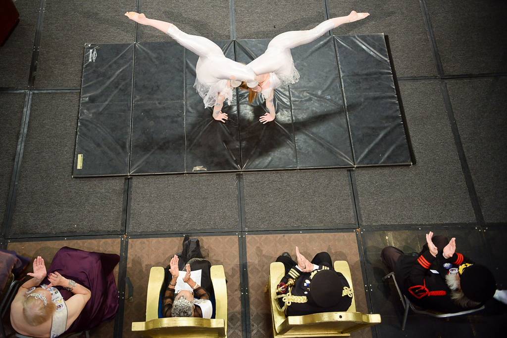 . Libbi Ulm, 18, of White Bear Lake, right, and Jenna Ober, 15, of Minneapolis, both with Circus Juventas,  undulate together during the the Senior Royalty Coronation ceremony. (Pioneer Press: Ben Garvin)