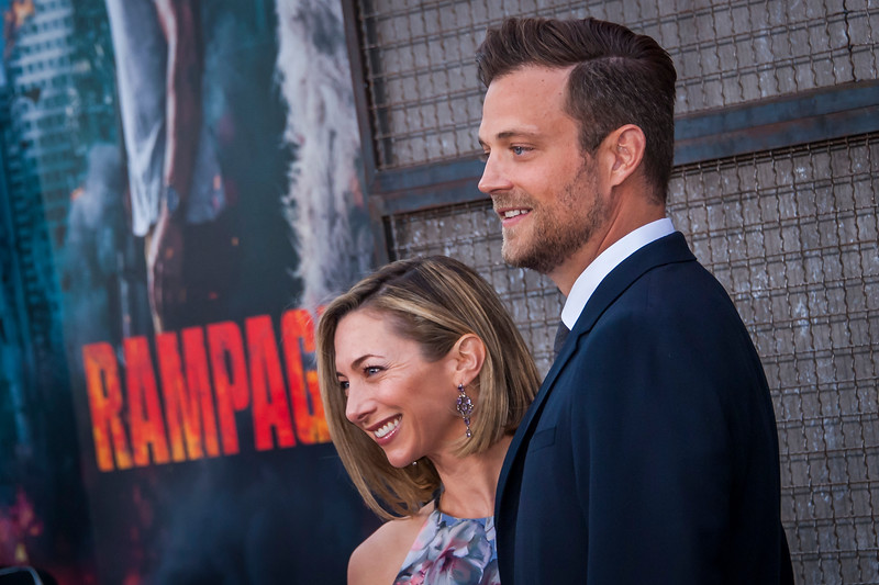 LOS ANGELES, CA - APRIL 04: Ryan Engle and guest arrive at the Premiere Of Warner Bros. Pictures' 'Rampage' at Microsoft Theater on Wednesday April 4, 2018 in Los Angeles, California. (Photo by Tom Sorensen/Moovieboy Pictures)