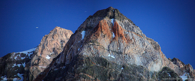 A panoramic view of the Painted Lady with Mt. Rixford behind in the Sierra Nevada Range, Kings Canyon National Park.
