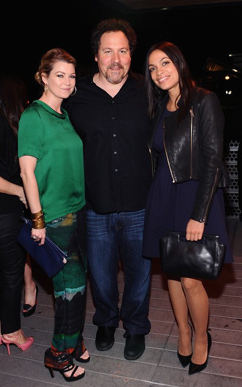 . Actress Ellen Pompeo, director/actor Jon Favreau and actress Rosario Dawson attend Coach\'s 3rd Annual Evening of Cocktails and Shopping to Benefit the Children\'s Defense Fund hosted by Katie McGrath, J.J. Abrams and Bryan Burk at Bad Robot on April 10, 2013 in Santa Monica, California.  (Photo by Stefanie Keenan/Getty Images for Coach)