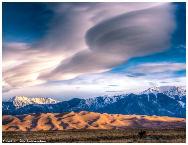 Winter cloud formations over Sangre de Cristo Mountains, Great Sand Dunes National Park, CO