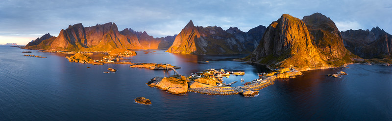 Reine Aerial 4 panorama Drone Lofoten landscape photography sunrise islands hamnøy.jpg