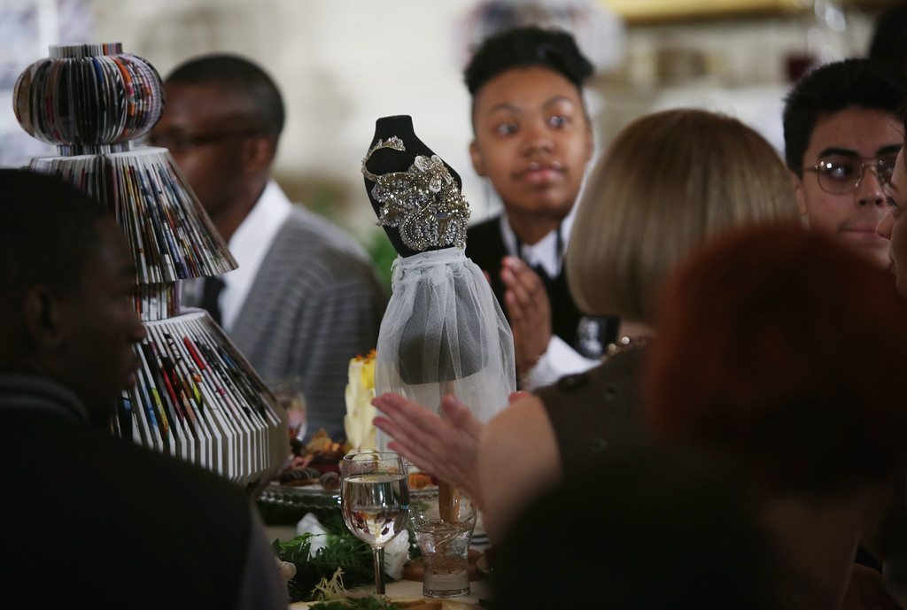 . A mini dressmakers dummy is part of the docoration on the table during a session of a Fashion Education Workshop, hosted by first lady Michelle Obama, in the East Room of the White House October 8, 2014 in Washington, DC. (Photo by Alex Wong/Getty Images)