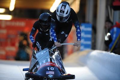 Lauryn Williams and Elana Meyers bobsled