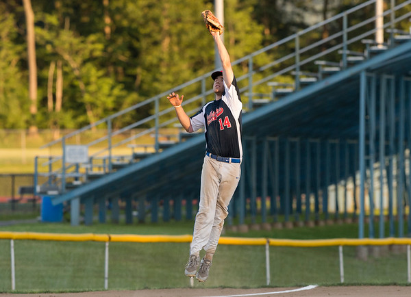 06/27/19 Wesley Bunnell | Staff Berlin Post 68 Legion baseball vs Southington Post 72 on Thursday June 27, 2019. Jeremy Mercier (14) leaps to catch the throw from the catcher after a strike out.