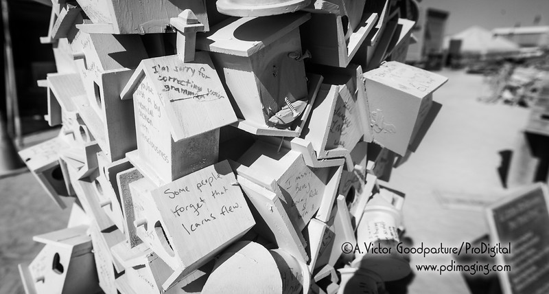 "Visitors were asked to write a message to forgive someone or ask for forgiveness and then place it on or in the birdhouses. Later in the week, the birdhouses would be burned to ""bring absolution."""