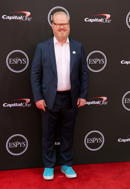 . Jim Gaffigan arrives at the ESPY Awards at Microsoft Theater on Wednesday, July 18, 2018, in Los Angeles. (Photo by Willy Sanjuan/Invision/AP)