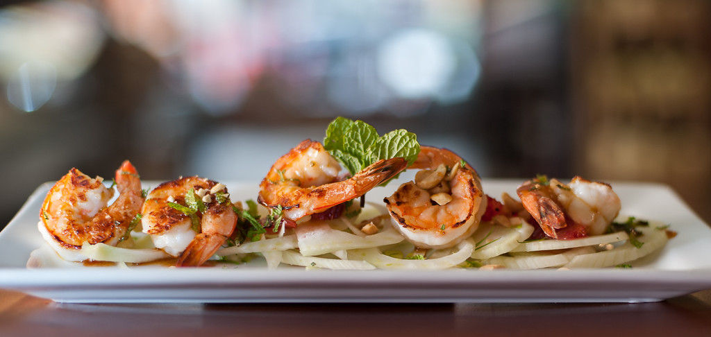 . Thai style shrimp and grapefruit salad is shown at the Market on Main in downtown Mt. Pleasant, MI. (Sun photo by Holly Mahaffey/@hollymahaffey)