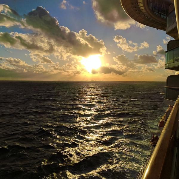 Sun setting over Miami