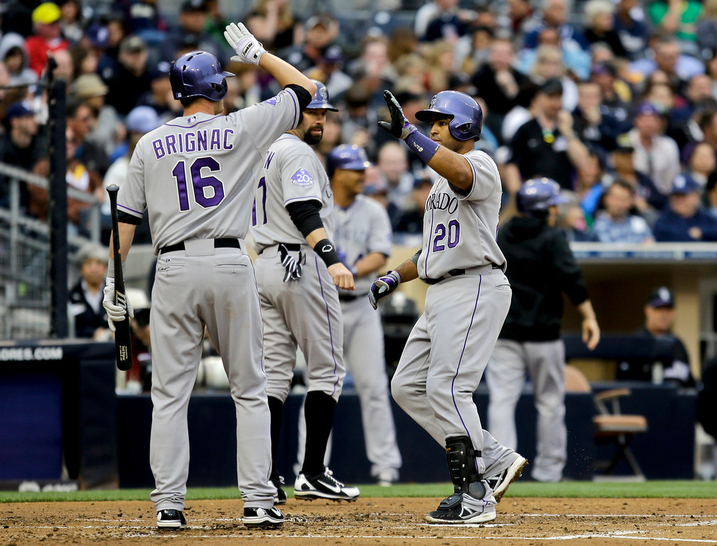 . Colorado Rockies\' Wilin Rosario, right, is congratulated by teammate Reid Brignac after hitting a two-run home run against the San Diego Padres in the second inning of a baseball game on Saturday, April 13, 2013, in San Diego. (AP photo/Lenny Ignelzi)