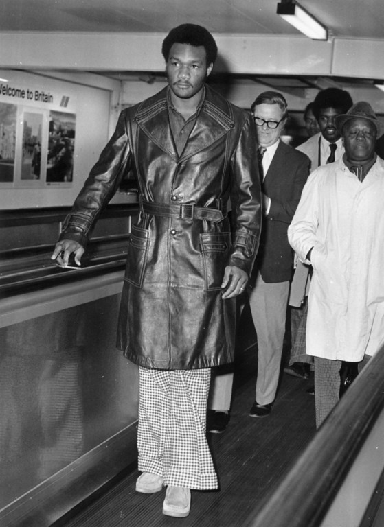 . 12th March 1973:  American professional boxer George Foreman, arriving at London Airport.  (Photo by Evening Standard/Getty Images)