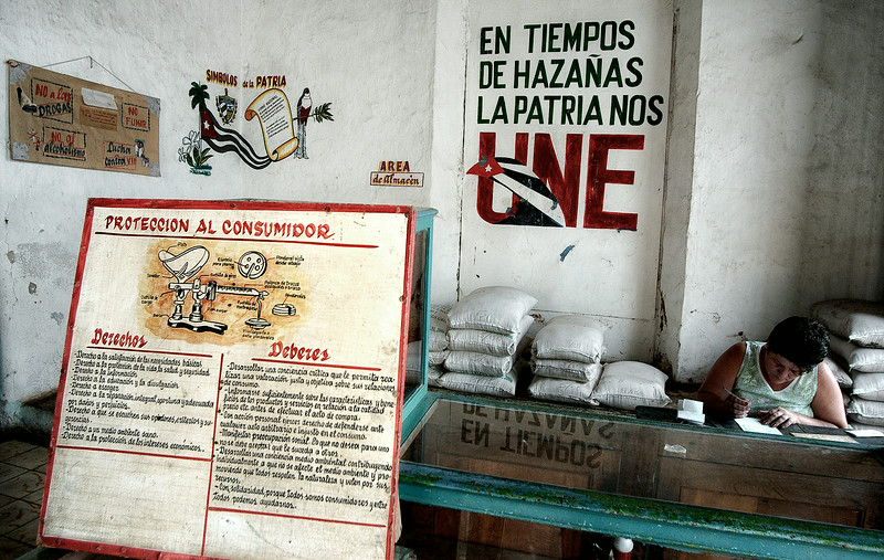 Even though Cuban grocery stores are stripped down to a bare minimum, consumer rights are given a lot of attention.   Remedios, Cuba, 2006.