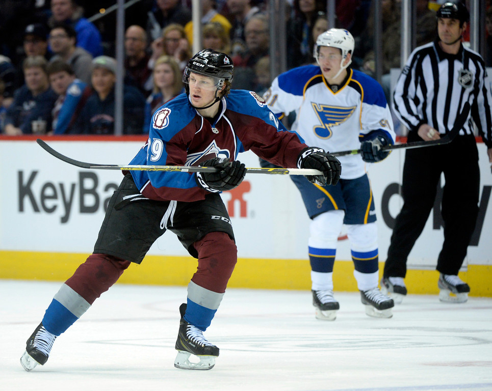 . Colorado center Nathan MacKinnon (29) skated in the first period. The St. Louis Blues defeated the Colorado Avalanche 2-1 at the Pepsi Center Saturday afternoon, March 8, 2014 in Denver, Colorado. (Photo by Karl Gehring/The Denver Post)