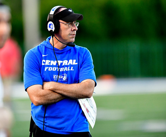 9/72019 Mike Orazzi | StaffrCCSU Head Football Coach Ryan McCarthy in New Britain on Saturday night.