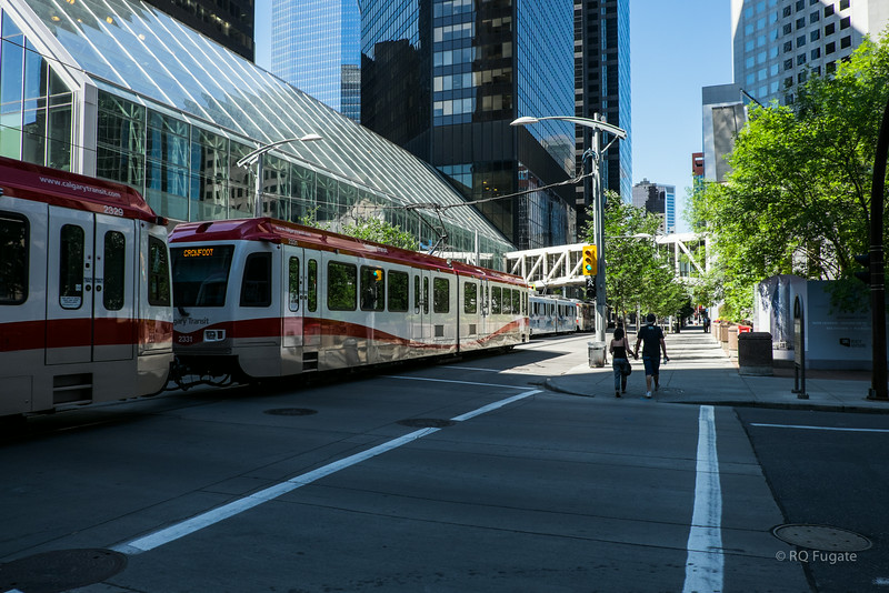 Light rail public transportation in Calgary.
