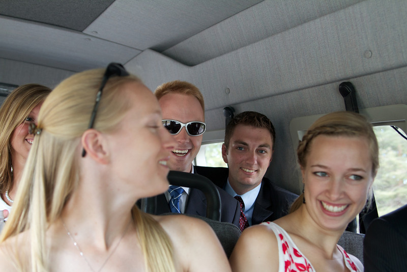 Crammed into the shuttle on the way to the ceremony.