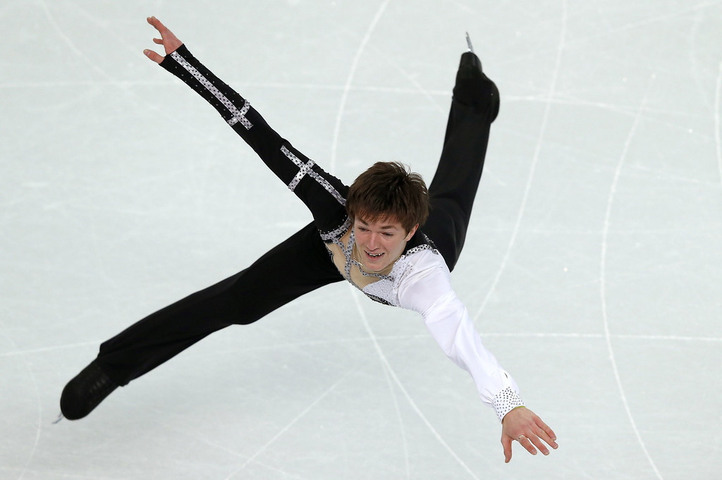 . Ukraine\'s Yakov Godorozha performs during the Men\'s Figure Skating Short Program at the Iceberg Skating Palace during the Sochi Winter Olympics on February 13, 2014.   ADRIAN DENNIS/AFP/Getty Images