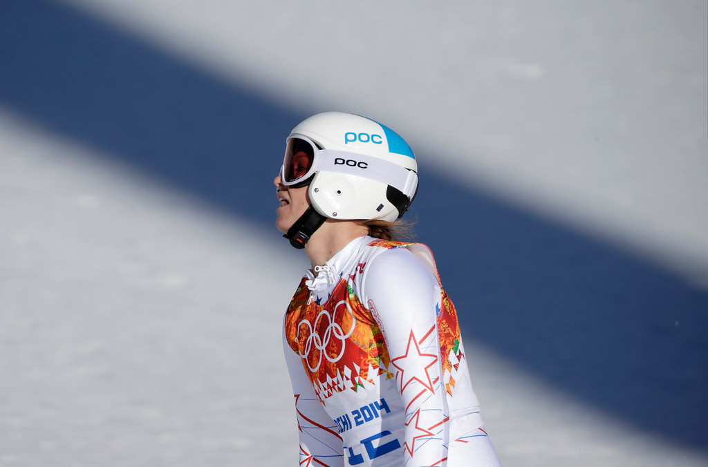. United States\' Julia Mancuso reacts after finishing the women\'s downhill at the Sochi 2014 Winter Olympics, Wednesday, Feb. 12, 2014, in Krasnaya Polyana, Russia. (AP Photo/Gero Breloer)
