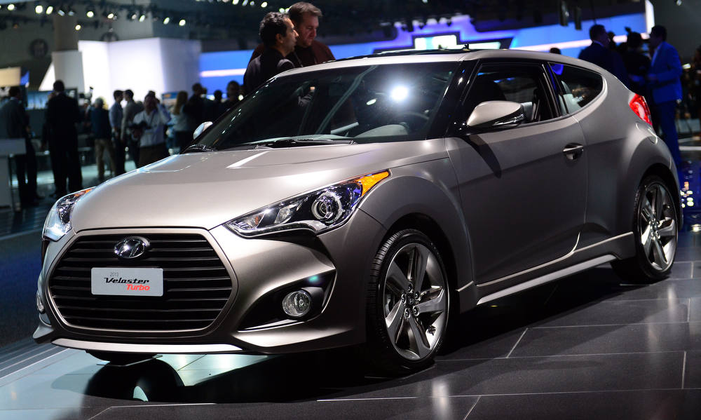 Description of . The Veloster turbo from Hyundai is displayed on media preview day at the Los Angeles Auto Show on November 28, 2012 in Los Angeles, California. The show opens to the public from November 30 to December 9. AFP PHOTO / Frederic J. BROWN/AFP/Getty Images